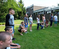 Begrüßung der Jugendlichen aus Svensk und ihrer Betreuerinnen