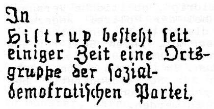 Dortmunder Arbeiterzeitung von 1910: In Hiltrup besteht ...
