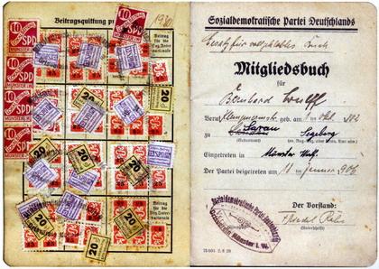 SPD-Mitgliedsbuch von 1906 (Bernhard Wulff)