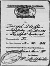 Parteibuch Joseph Stoffers (1933 - 1946), in die SPD Müster eingetreten am 1.12.1924 (Außenseite)