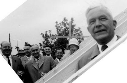 Marga Niedenführ beim Richtfest für die Erweiterung der Marienschule (1963)