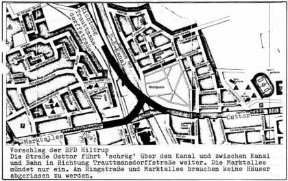 Planung der neuen Kanalbrücke: Alternativvorschlag der SPD Hiltrup (1976)