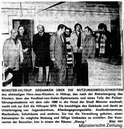 März 1978: Die SPD besichtigt das alte Paterkloster