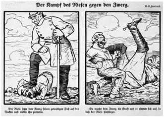 Karikatur: Der Kampf des Riesen (Bismarck) gegen den Zwerg