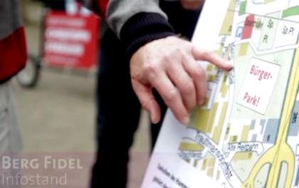 Informationsstand in Berg Fidel: hier soll der Bürgerpark entstehen!